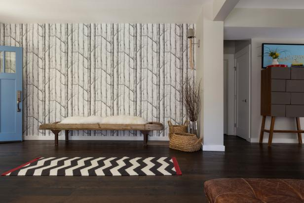Transitional Foyer With Tree-Pattern Wallpaper and Chevron Print Rug
