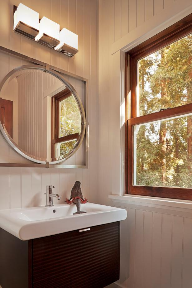 Small White Beadboard Cottage Bathroom With Floating Vanity Hgtv