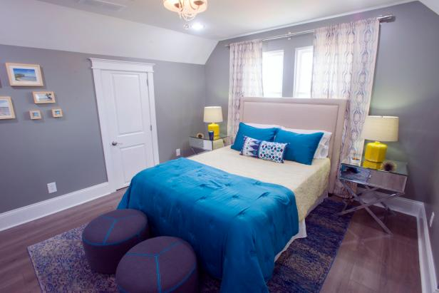 Neutral Bedroom with Blue and Green Bed Linen