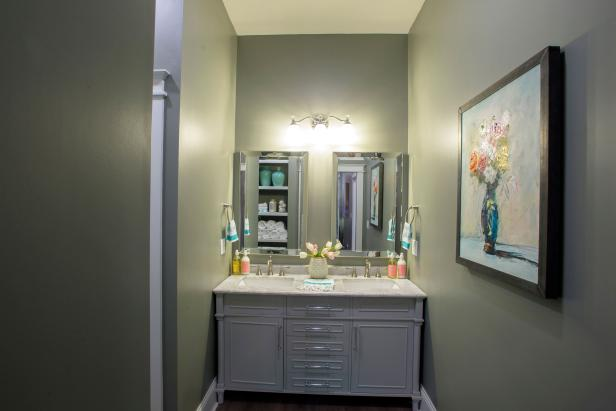 Green Bathroom with White Marble Double Vanity