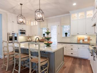 White Shabby Chic Kitchen With Gray Island