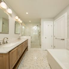Shower Adds Functionality to Long, Narrow Bathroom