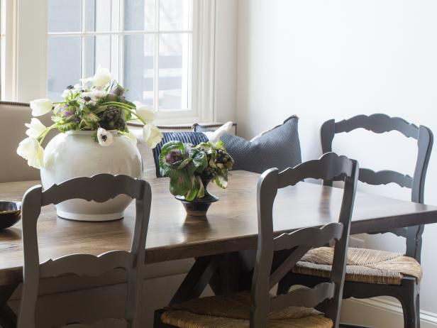 Light-filled Breakfast Room with Floral Arrangement