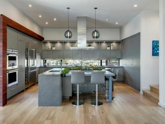 Gray Modern Open Plan Kitchen With Two Stools