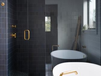 Black Tiled Walk-In Shower in Master Bathroom