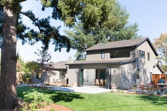 Gray Transitional Home Rear Exterior and Backyard