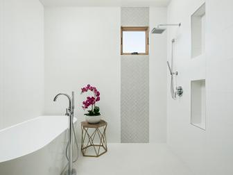 White Spa Bathroom With Open Shower