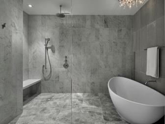 Style and Function Combine Shower and Bathing Areas in Modern Master Bathroom