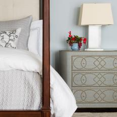 Gray Bedroom With Nailhead Dresser