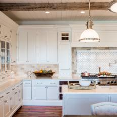 White Country Chef Kitchen With Exposed Beams