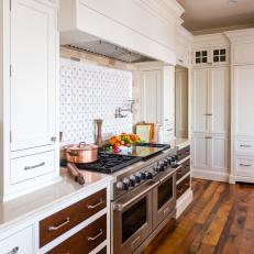 White Country Chef Kitchen With Two Stoves