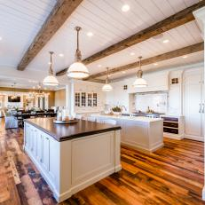 White Country Kitchen With Two Islands