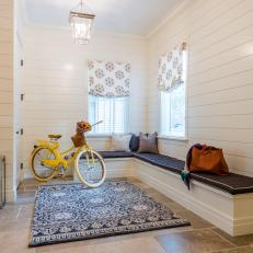 White Country Mudroom With Bike
