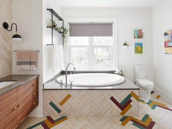 Multicolored Spa Bathroom With Soaking Tub