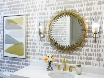 Gold and Silver Small Bathroom With Starburst Mirror