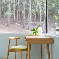 Desk and Windows With Forest View
