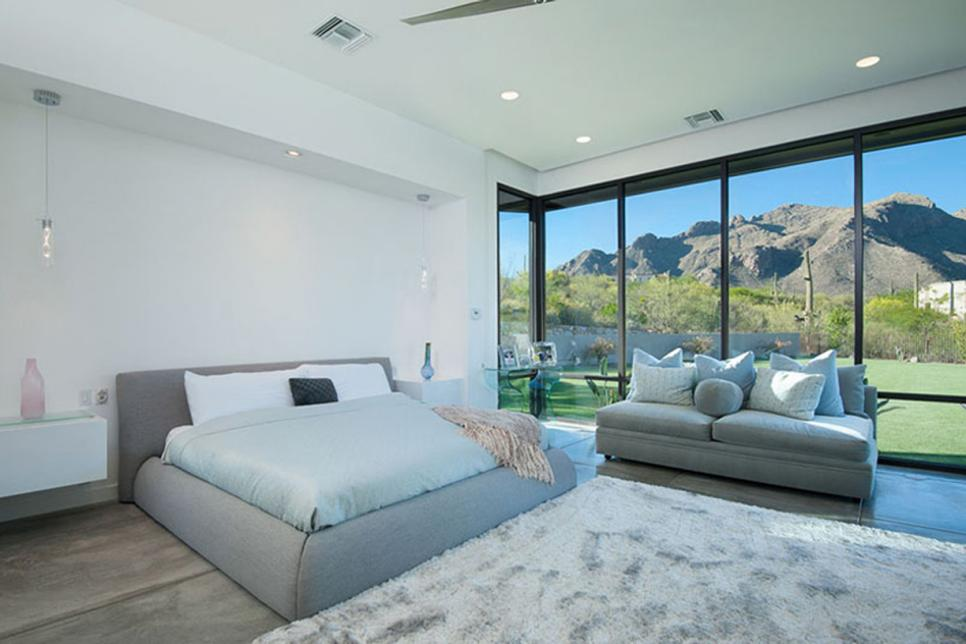 Modern Bedroom With Desert View