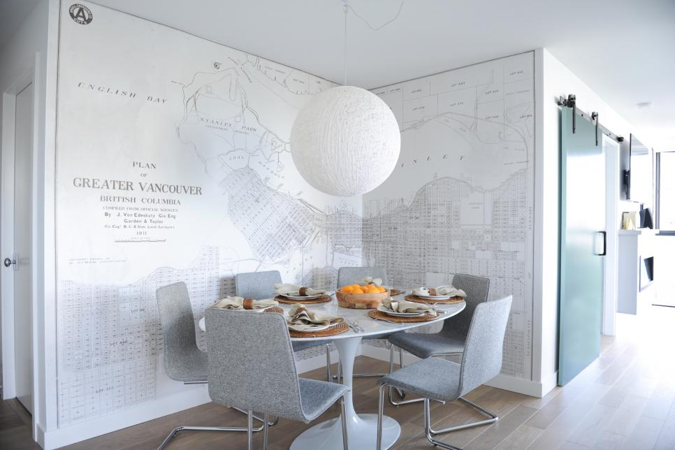 Small Dining Space with White Map Mural