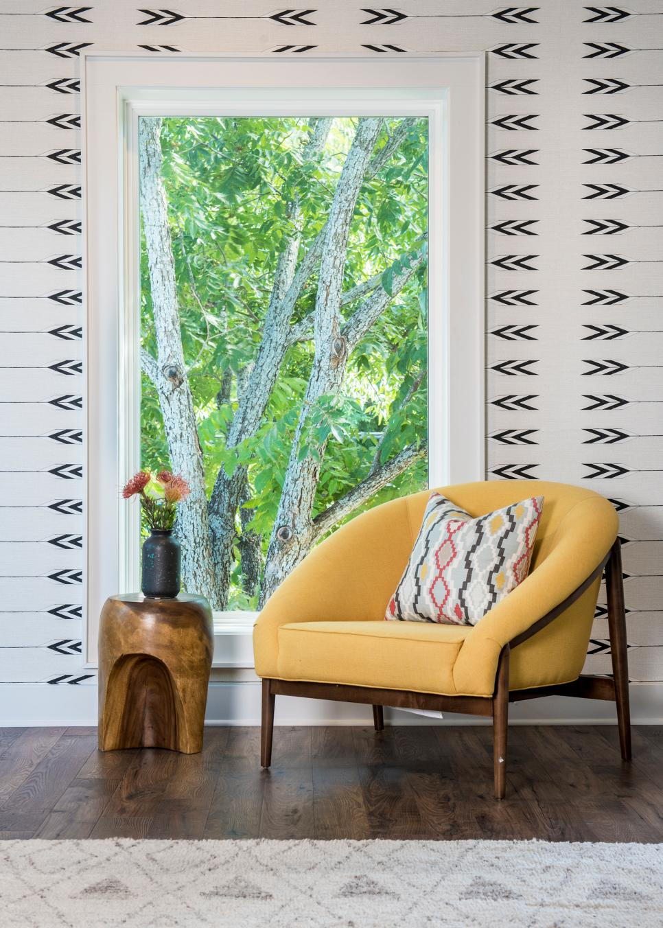 Yellow Midcentury Modern Chair and Southwestern Wallpaper