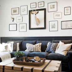 Country Living Room With Framed Deer