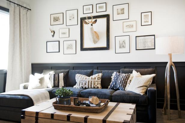 Living Room With Framed Deer