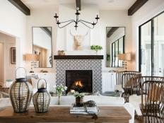 Modern Farmhouse Living Room With Wicker Chairs