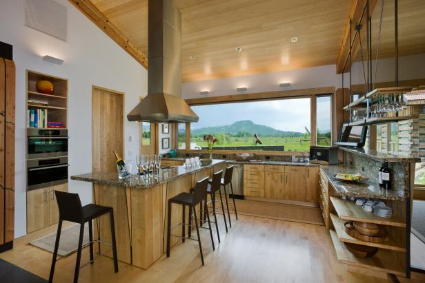 Rustic Kitchen With Mountain View