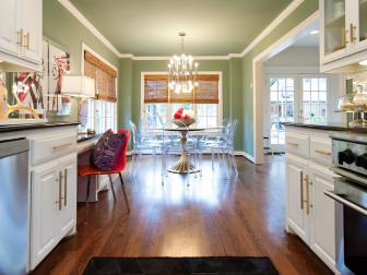Green Eclectic Kitchen With Red Chair