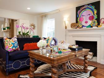 Multicolored Eclectic Sitting Room With Zebra Rug