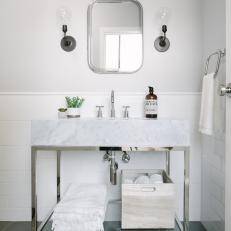 Neutral, Sophisticated and Durable Upstairs Kids' Bathroom