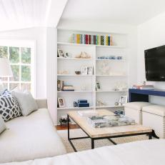 White Transitional Living Room With Blue Table