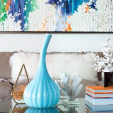 Blue Vase and Coral on Coffee Table