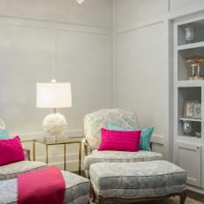 Shabby Chic Seating Area With Pink Pillows