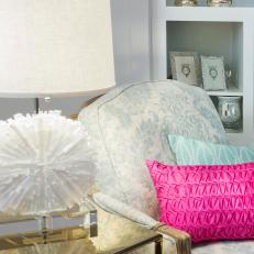 Blue Shabby Chic Chair With Pink Pillow