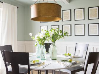 Traditional Green Dining Room with White Chair Trim and Wainscoting