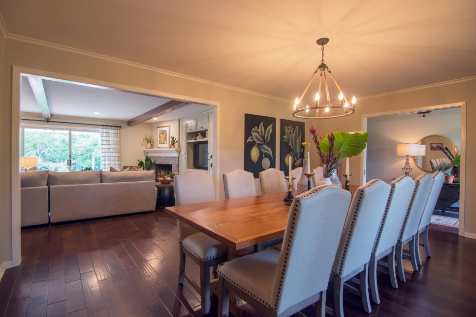 Neutral Open Plan Dining Room and Living Room