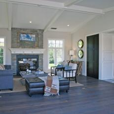 Neutral Transitional Living Room With Stone Fireplace