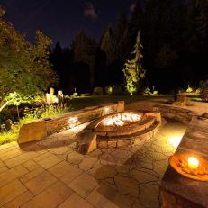 Stone Benches Encircle Fire Pit