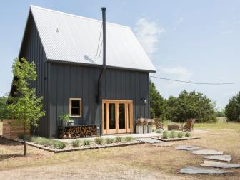Black Cabin Exterior with Neutral French Doors