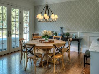 Gray Green Cottage Dining Room With Wainscoting