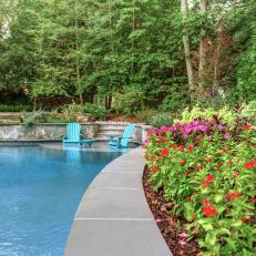Colorful Plants Create Tropical Feel Around Pool
