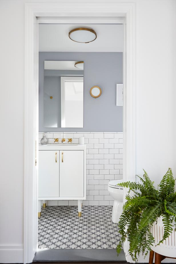 Gray and White Small Bathroom