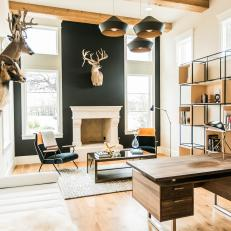 Rustic Contemporary Home Office With Deer Heads