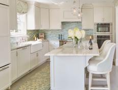 White Cottage Kitchen With Blue Backsplash