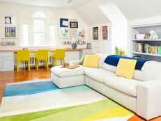 Multicolored Contemporary Playroom With Rainbow Rug