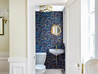 Blue Contemporary Powder Room With Wallpaper