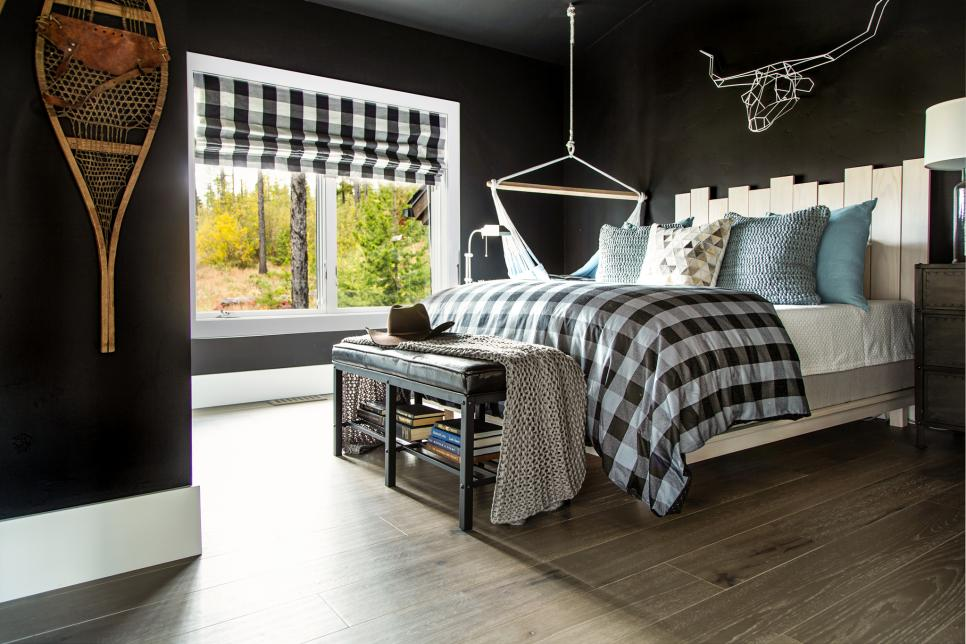 Black and White Bedroom With Checked Shade