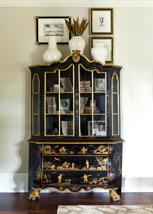 Chinoiserie Cabinet with Framed Art