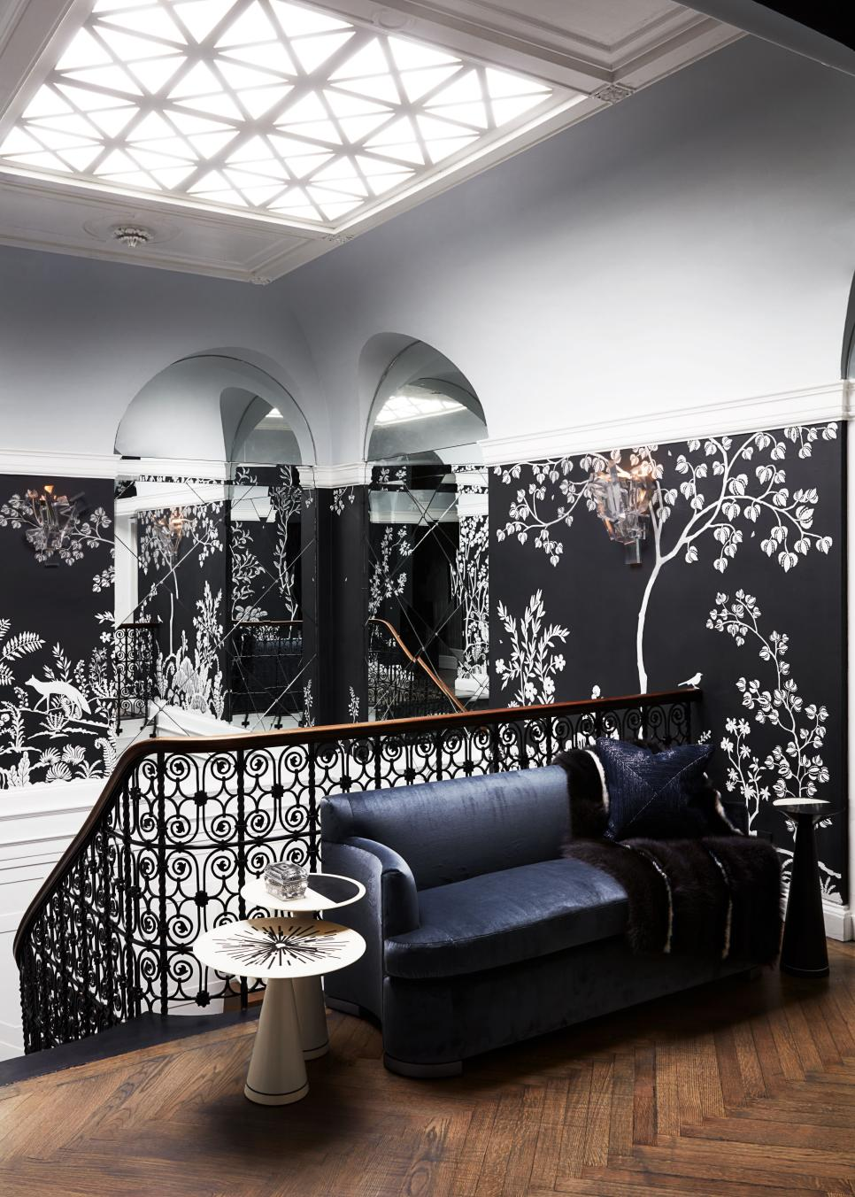 Luxury Mirrored Stairway with Wrought-Iron Railing, Sunlight and Wall Mural