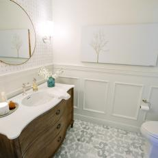 White Bathroom With Wainscoting